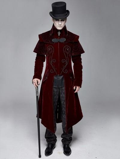 Devil Fashion Red Gothic Victorian Vintage Long Velvet Tailcoat for Men