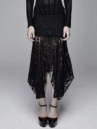 Devil Fashion Black Vintage Pattern Gothic Irregular Fishtail Skirt