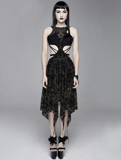 Devil Fashion Black Vintage Pattern Sexy Gothic Hollow-out Irregular Dress