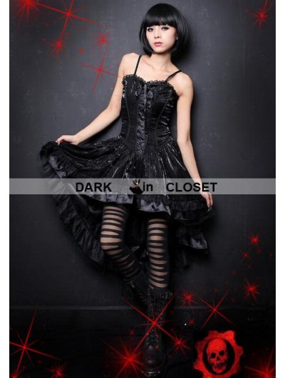 Pentagramme Black Rose Pattern Spaghetti Straps High-Low Gothic Dress
