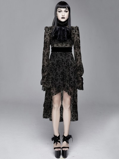 Devil Fashion Black Vintage Pattern Sexy Gothic Long Sleeve High-Low Dress