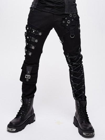 Devil Fashion Black Gothic Punk Metal Long Pants for Men
