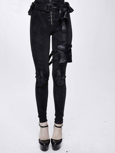 Devil Fashion Black Women's Gothic Punk Rivet Long Trousers with Detachable Pocket