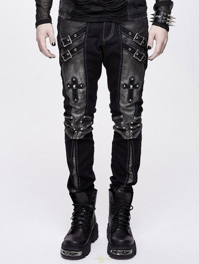 Devil Fashion Black and Sliver Gothic Punk Metal Cross Long Trousers for Men