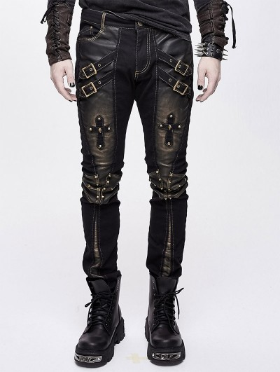 Devil Fashion Black and Bronze Gothic Punk Metal Cross Long Trousers for Men