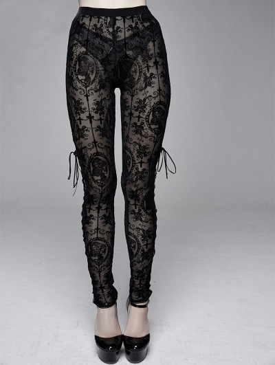 Devil Fashion Black Vintage Gothic Transparent Legging for Women