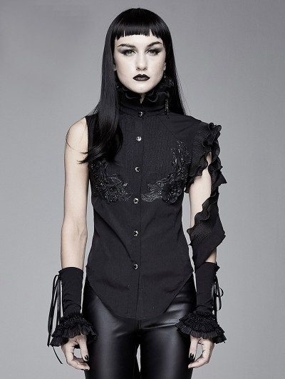 Devil Fashion Black Gothic One-Shoulder Asymmetric Blouse for Women