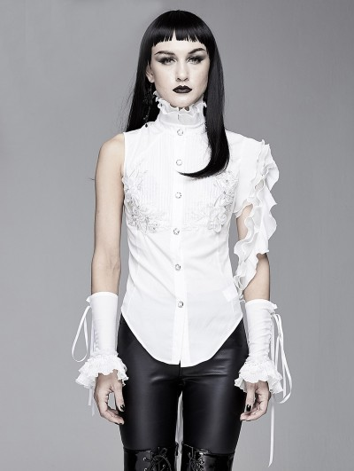 Devil Fashion White Gothic One-Shoulder Asymmetric Blouse for Women