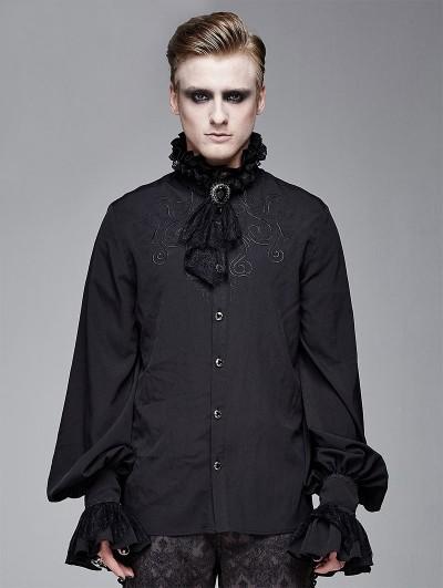 Devil Fashion Black Vintage Gothic Palace Bowtie Shirt for Men