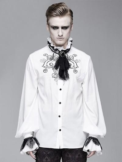 Devil Fashion White Vintage Gothic Palace Bowtie Shirt for Men