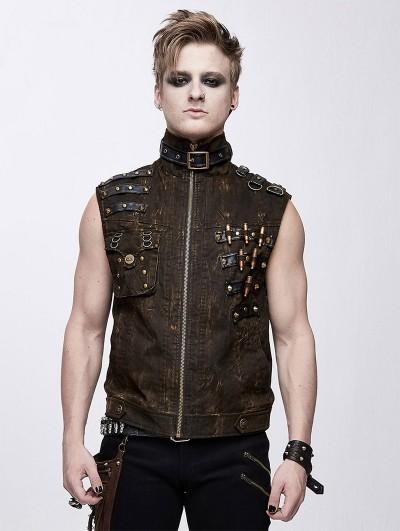 Devil Fashion Brown Do Old Style Gothic Punk Rock Vest Top for Men