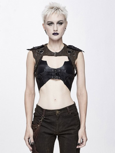 Devil Fashion Black and Brown PU Leather Gothic Punk Sexy Top for Women