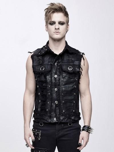 Devil Fashion Black Gothic Punk Rock Skull Vest Top for Men