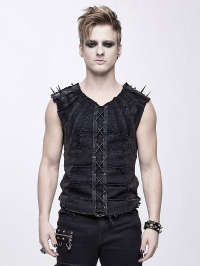 Devil Fashion Black Gothic Punk Rock Rivet Sleeveless Vest Top for Men