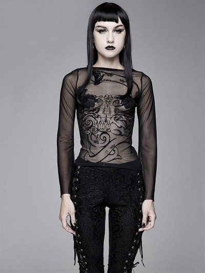 Devil Fashion Black Gothic Sexy Long Sleeve Transparent T-Shirt for Women