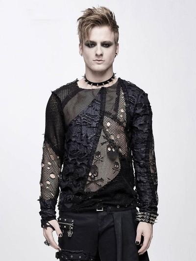 Devil Fashion Black Gothic Punk Net Skull Long Sleeve T-Shirt for Men