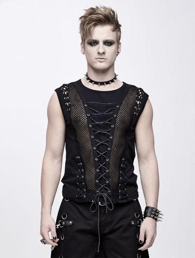 Devil Fashion Black Gothic Punk Front Stap Sleeveless T-Shirt for Men