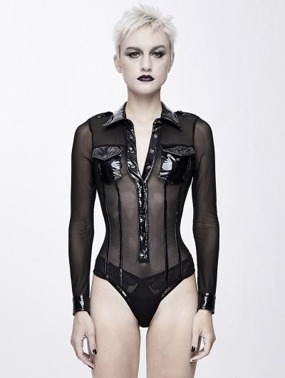 Devil Fashion Black Gothic Siamese Military Uniform Semitransparent T-Shirt for Women