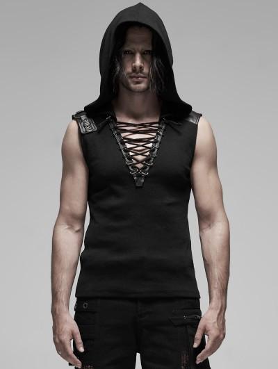 Punk Rave Black Gothic Punk Metal Sleeveless Hooded T-Shirt for Men