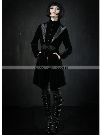 Punk Rave Black Velvet Gothic Jacket for Women
