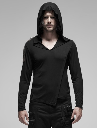 Punk Rave Black Gothic Punk Metal Long Sleeve Hooded T-Shirt for Men