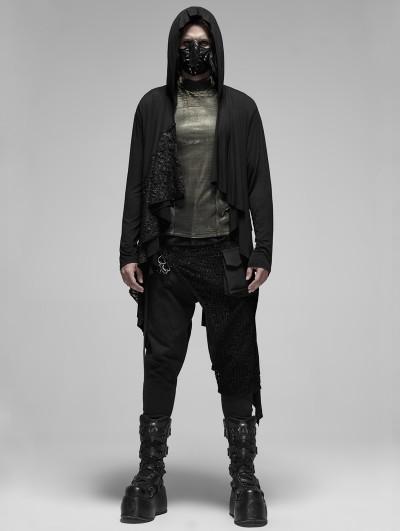 Punk Rave Black Gothic Punk Irregular Hooded Long Trench Coat for Men