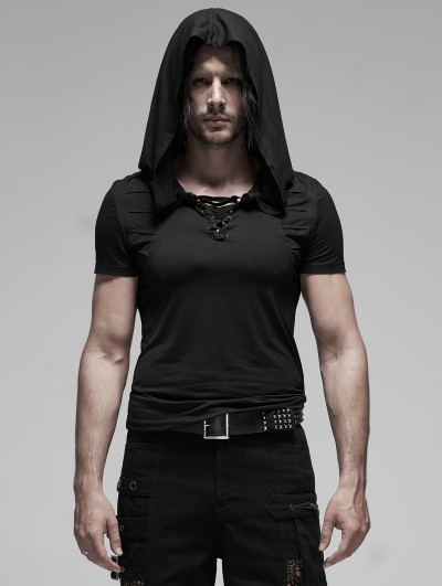 Punk Rave Black Gothic Short Sleeve Slim Hooded T-Shirt for Men
