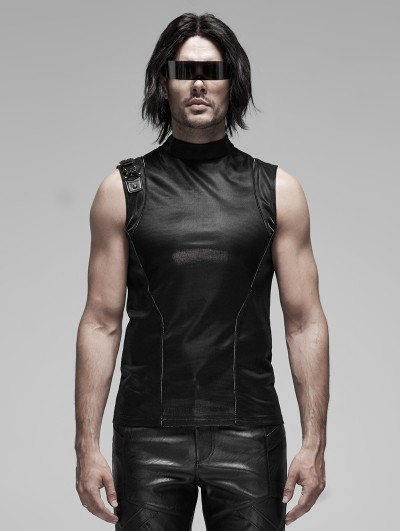 Punk Rave Black Gothic Punk Futuristic Sleeveless T-Shirt for Men