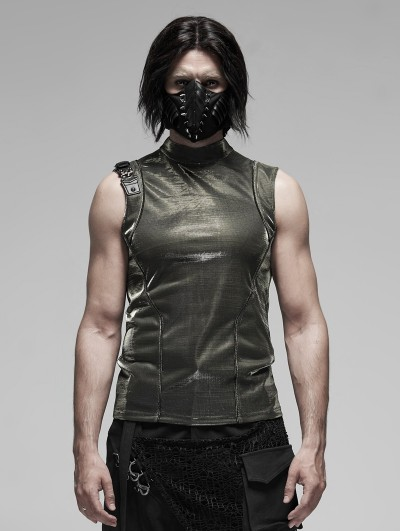 Punk Rave Gothic Punk Futuristic Sleeveless T-Shirt for Men