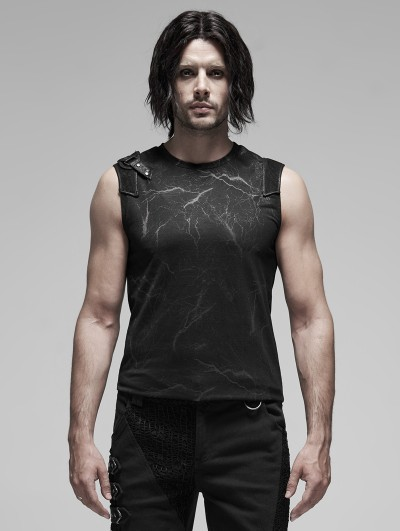 Punk Rave Black Gothic Punk Futuristic Sleeveless Vest Top for Men