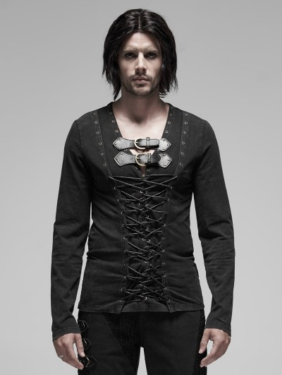 Punk Rave Black Gothic Punk Pirate Long Sleeve T-Shirt for Men