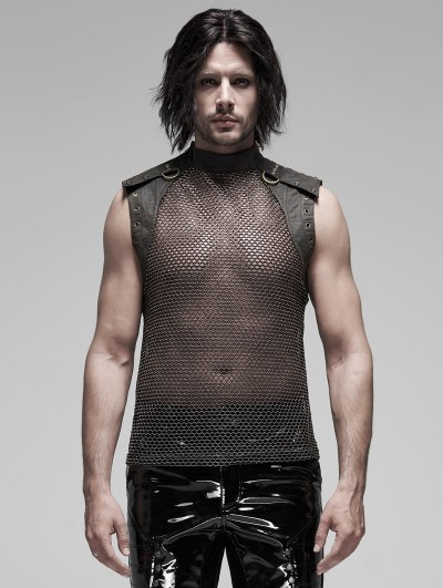 Punk Rave Black Gothic Punk Metal Futuristic Sleeveless Vest Top for Men