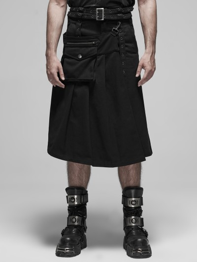 Punk Rave Black Gothic Punk Detachable Pleated Half Skirt for Men