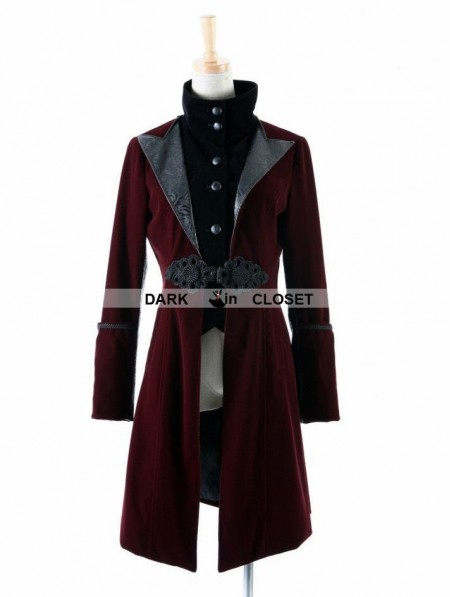 648a35d9572d Punk Rave Wine Red Velvet Gothic Jacket for Women - DarkinCloset.com