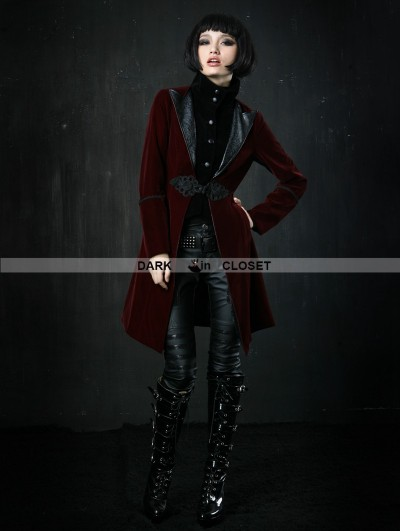 Punk Rave Wine Red Velvet Gothic Jacket for Women