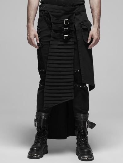 Punk Rave Black Gothic Punk Metal Irregular Skirt for Men