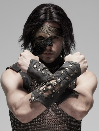 Punk Rave Steampunk Hollow-out Gloves for Men