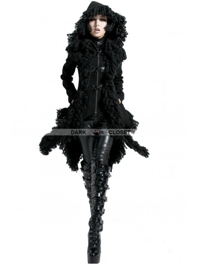 Punk Rave Black Winter Long Hooded Gothic Coat for Women