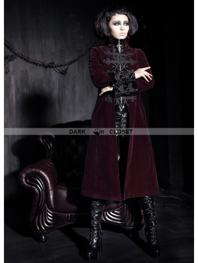 Punk Rave Wine Red Vintage Court Style Gothic Coat for Women