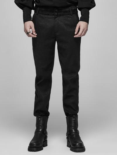 Punk Rave Black Vintage Gothic jacquard Long Pants for Men