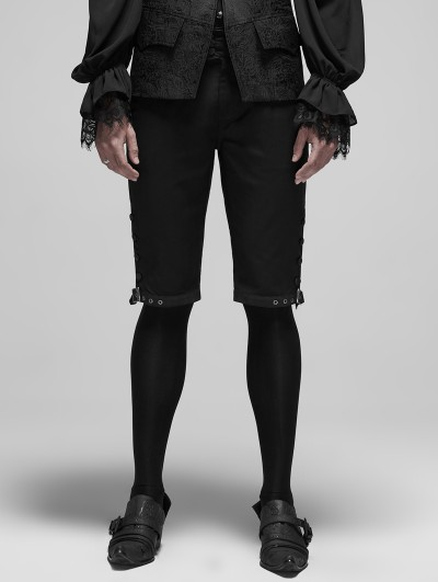 Punk Rave Black Vintage Gothic Rococo Court Shorts for Men