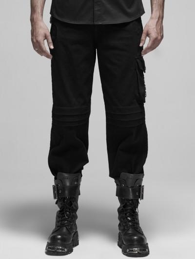 Punk Rave Black Gothic Military False Two-Piece Long Pants for Men