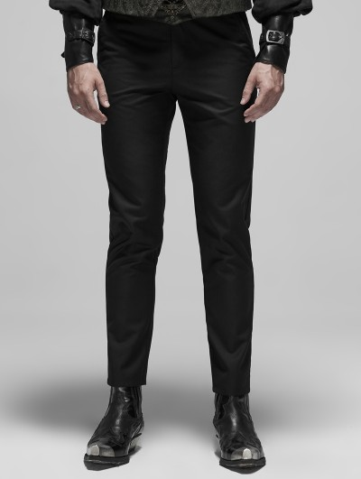 Punk Rave Black Vintage Gothic Embroidered Simple Trousers for Men