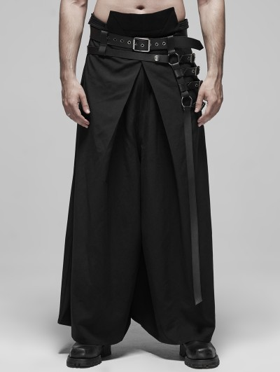 Punk Rave Black Gothic Japanese Warrior Style Pants for Men
