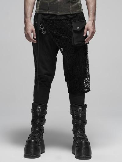 Punk Rave Black Fashion Gothic Punk Metal Long Pants for Men