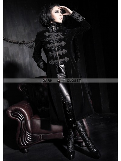Punk Rave Black Vintage Court Style Gothic Coat for Women