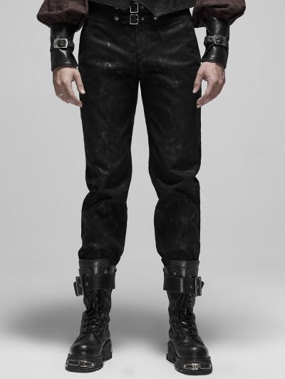 Punk Rave Black Gothic Steampunk Do Old Style Long Pants for Men