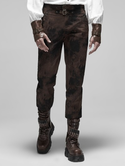 Punk Rave Brown Gothic Steampunk Do Old Style Long Pants for Men