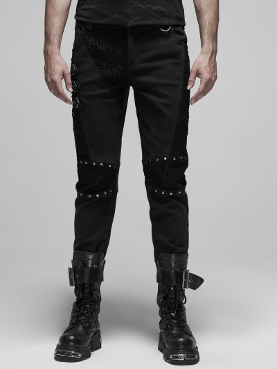 Punk Rave Black Gothic Punk Metal Long Pants for Men