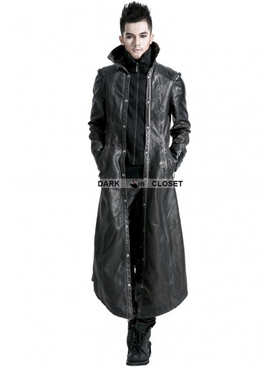 Punk Rave Black Leather Gothic Long Jacket for Men